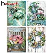 Huacan – peinture de diamant 5D à fleurs carrées ou rondes, bricolage, Kits d'art de broderie, décorations de maison