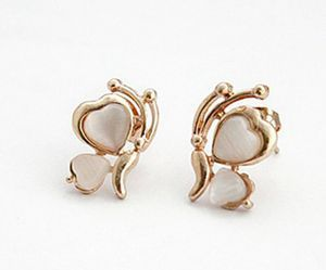 Fashion Design Butterfly White Stone Golden Plated Wing Ear Stud Earrings New Arrival 1 Pair image
