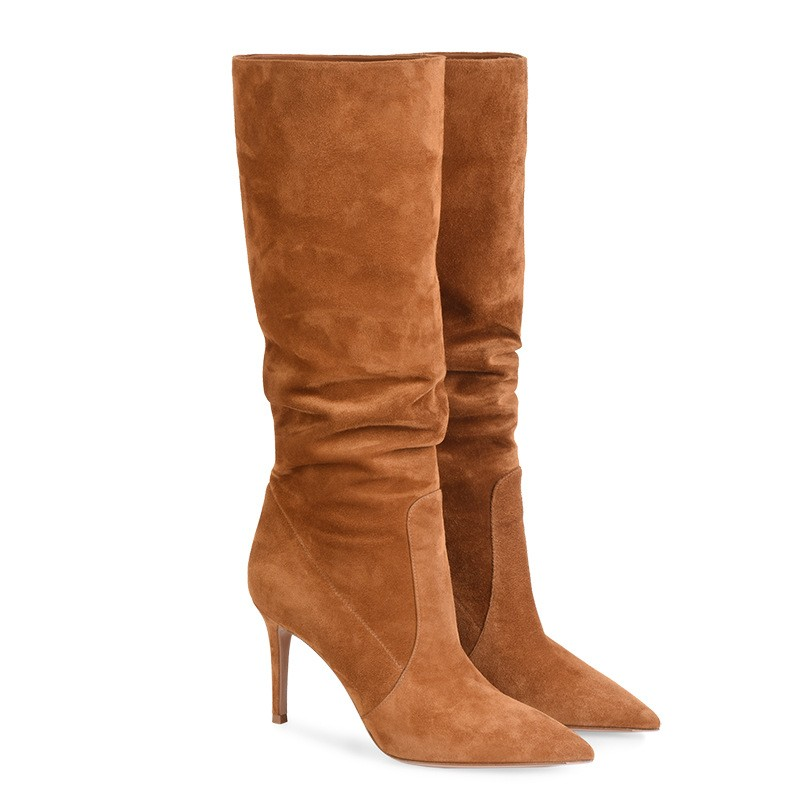 Winter Women Boots Pointed Toe Suede Brown Thin High Heel Fashion Middle Tube Knee Length Women's Long Chelsea Boot Shoes Botas