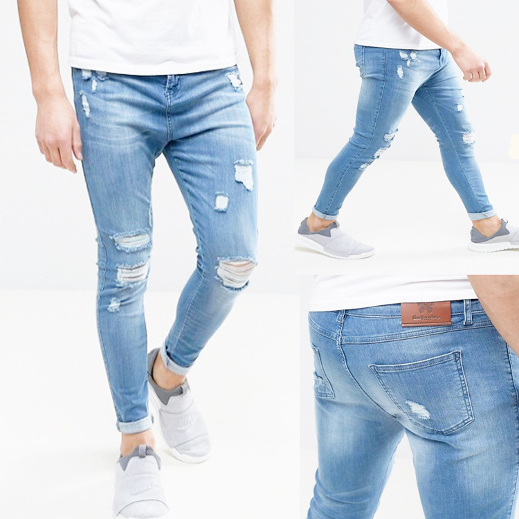 Europe And America New Style Fashion With Holes Low Elastic Skinny Jeans AW11