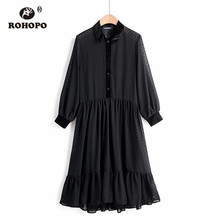 ROHOPO Velvet Turn Down Collar Top Buttons Fly Embroidery Polk Dot Black Midi Dress Long Sleeve Ruffled Maxi Vestido #269 ruffled long sleeve top in black