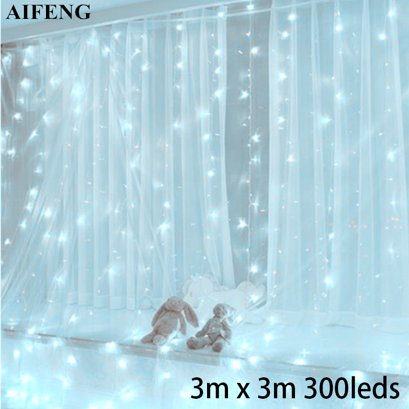 AIFENG Led Curtain Light 3Mx3M 300Leds Garland USB Powered Fairy Light Silver Copper Wire Xmas Curtain Light Wedding Party Decor