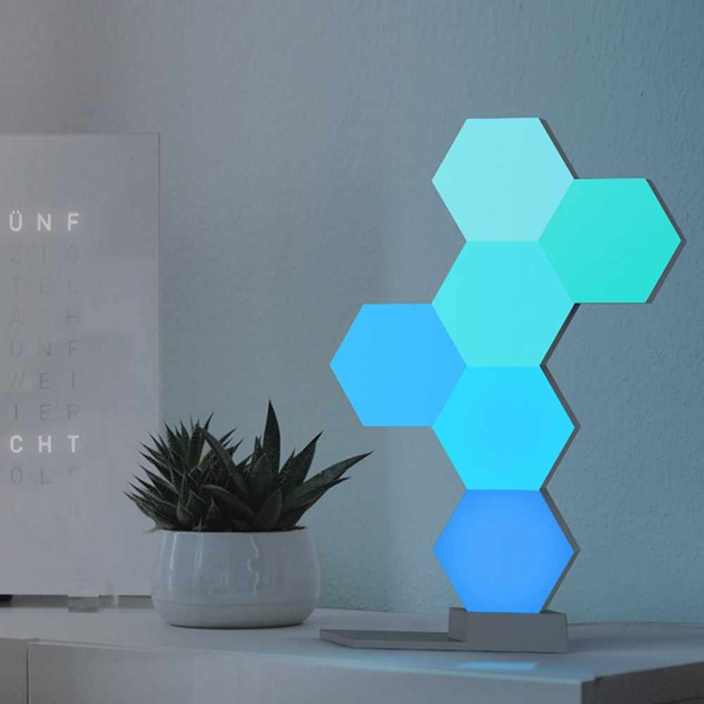 DIY Colorful Quantum Lights Creative Geometry Assembly Smart Voice APP Control Modular Touch Sensitive LED USB Ambient Wall Lamp