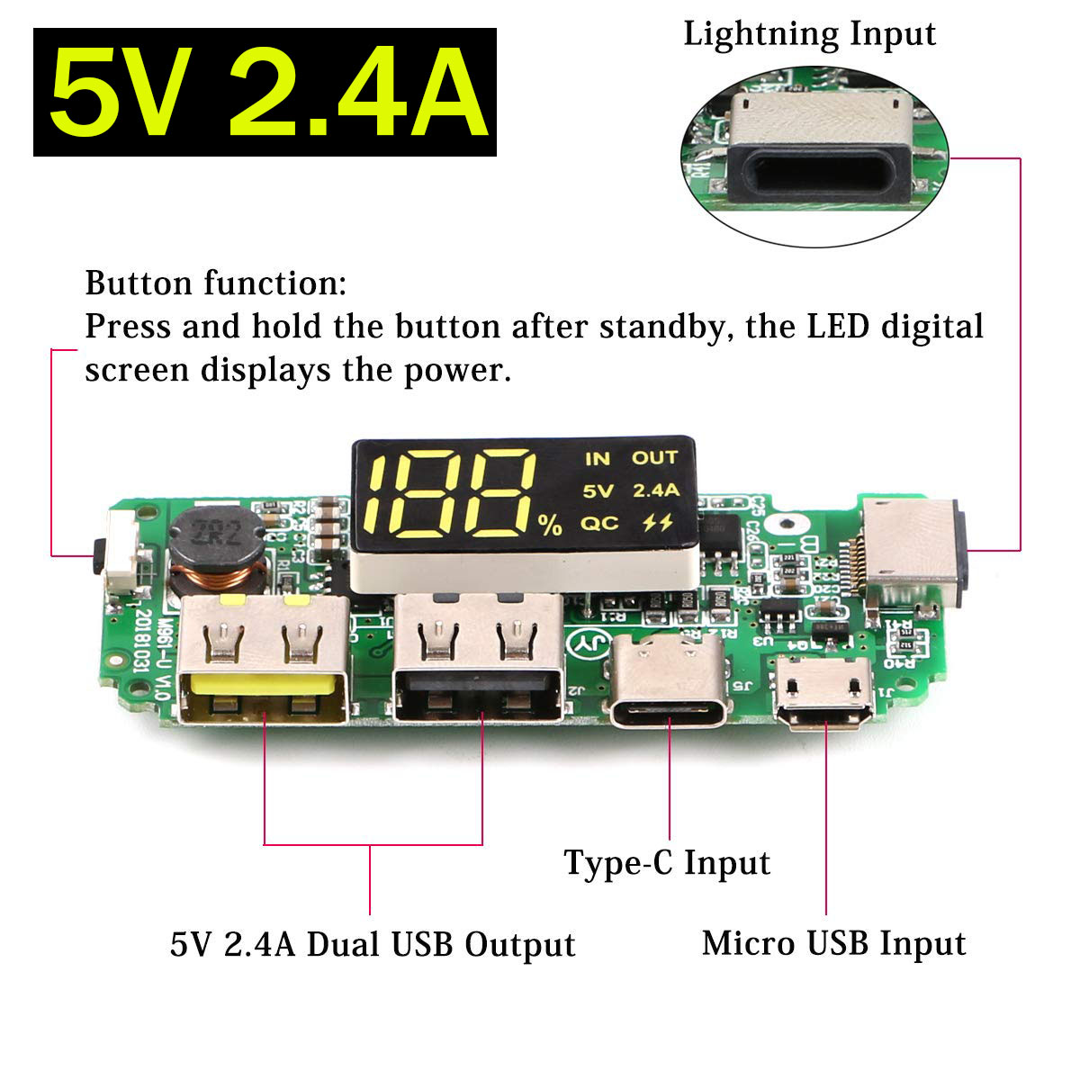 LED Screen Dual USB Micro USB Type-C Power Display Power Bank <font><b>18650</b></font> Battery Charger Overload Short <font><b>Circuit</b></font> <font><b>Protection</b></font> Board image
