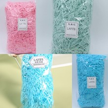 Colorful lafite grass shredded paper wedding /birthday/ candy gift box fillers DIY handmade decoration materials 50g/bag