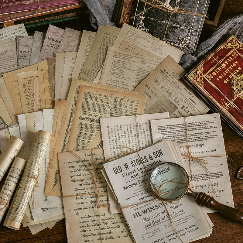 Journamm 10pcs/pack Large Size Medieval Vintage Paper for Junk Journal Dairy DIY Scrapbooking Album Decoration Paper Supplies