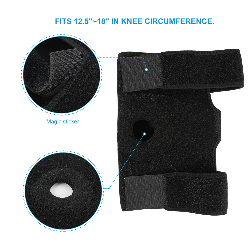 Black Outdoor Breathable Nylon Neoprene Knee Support Sleeve Active Wear Adjustable 3 Strap Closure Ultimate Protection