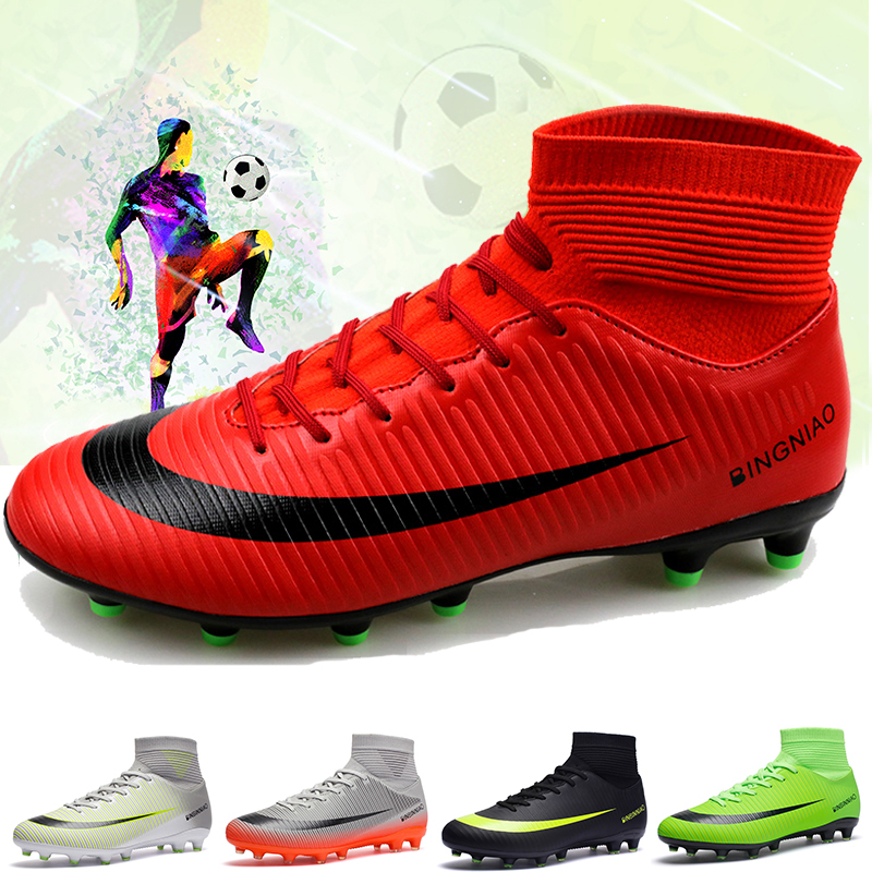 Cungel Men Football Boots Soccer Cleats Boots Long Spikes TF Spikes Ankle High Top Sneakers Soft Indoor Turf Futsal Soccer Shoes