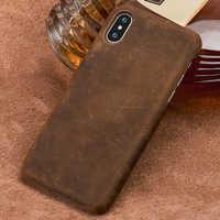 Genuino di Pull-Up Custodia in Pelle Telefono per Iphone X 11 11 Pro 11 Pro Max Xs Xr Xs Max 8 Più copertura per Apple 5 5S Se 6 8 7 6 S Plus