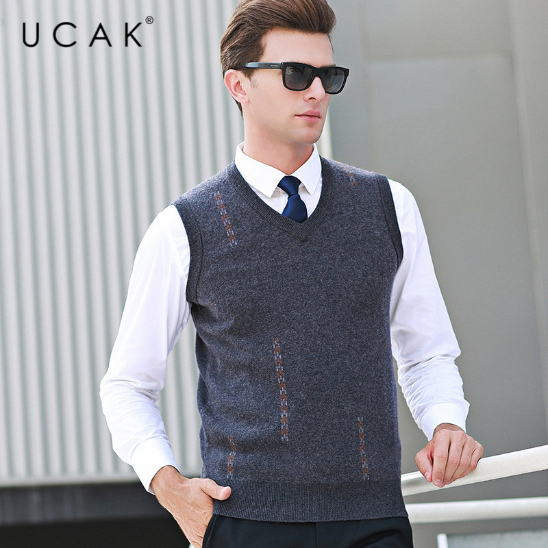 UCAK Brand Pure Merino Wool Sweater Vest 2019 New Arrival Casual Autumn Winter Pull Homme Streetwear Sweaters Clothes U3107