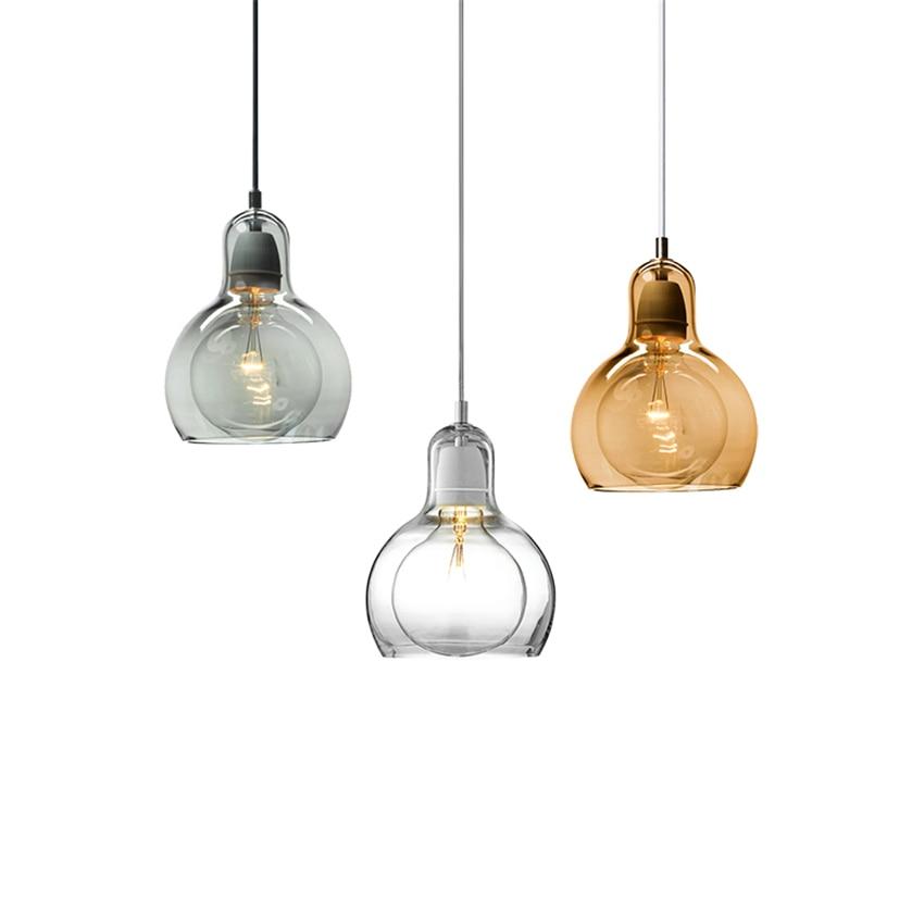 Nordic Loft E27 Glass Lampshade Pendant Lamp Clear Amber Pendant Lights Lighting Ball Hanging Lights Lustres Home Decor Fixtures
