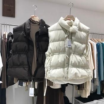 Winter Sleeveless Vest Coats Women Slim Cotton Padded Jacket Vests Korean Fashion Zipper Woman Waistcoat