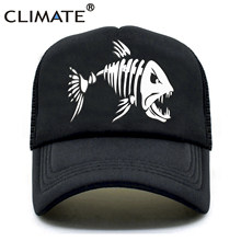 KLIMAAT Fishbone Trucker Cap Mannen Vissen Skelet Visgraten Cap HipHop Baseball Caps Zomer Fisher Man Mesh Caps Hoed voor mannen(China)