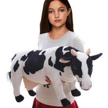 Plush Lifelike Cow Toys Holstein Calf Stuffed Toy 70cm Giant Black White Simulation Corinna Cow Kids Farm Animal Collection Gift