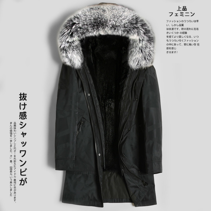 Real Fur Coat Natural Mink Fur Liner Fox Fur Collar Parka Mink Fur Coat Men Streetwear Warm Parkas Plus Size Jackets