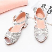 Kids Girls Shoes Princess Sandals Low Heel Summer Sandals Leather Shoes Open Toe Casual  Shoes Girls Dance SJD033 цена 2017