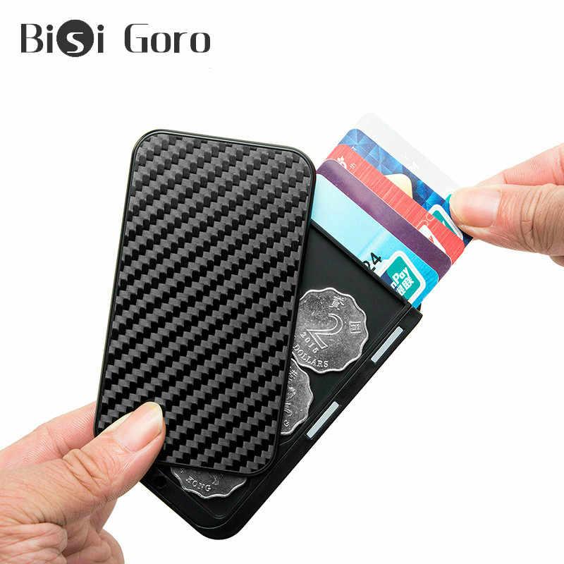 Bisi Goro Mannen Carbon Fiber Aluminium Creative Office Kaarthouder Doos Rfid Geld Bag Security Smart Portemonnee Cartera Tarjetero 2020