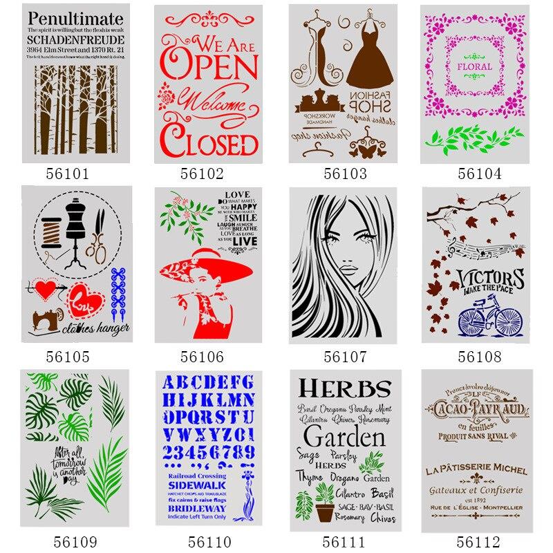 1Pcs A4 DIY Stencils Wall Painting Scrapbook Coloring Embossing Album Decorative Paper Card Template 29*21cm 12 Models Stencils