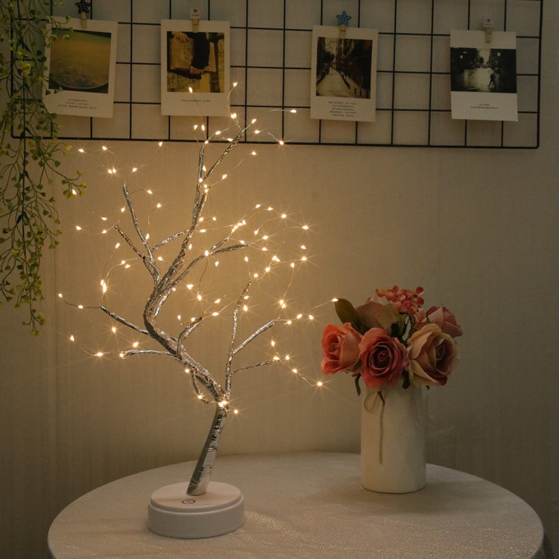 Romantic room homestay decoration bedside string DIY Bonsai tyle Copper Wire USB Charging Night Light Touch Switch Control Tree