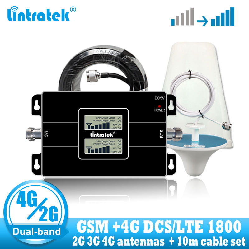 Lintratek Rússia GSM 900G LTE 4 1800 65dB Dual Band Repetidor GSM 1800mhz Sinal Móvel Impulsionador Repetidor Celular 3G 4G Antena