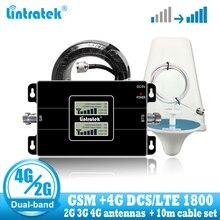 Lintratek Russland GSM 900 4G LTE 1800 Repeater GSM 1800mhz Handy Signal Booster DCS Dual Band Cellular Verstärker 3G 4G Antenne
