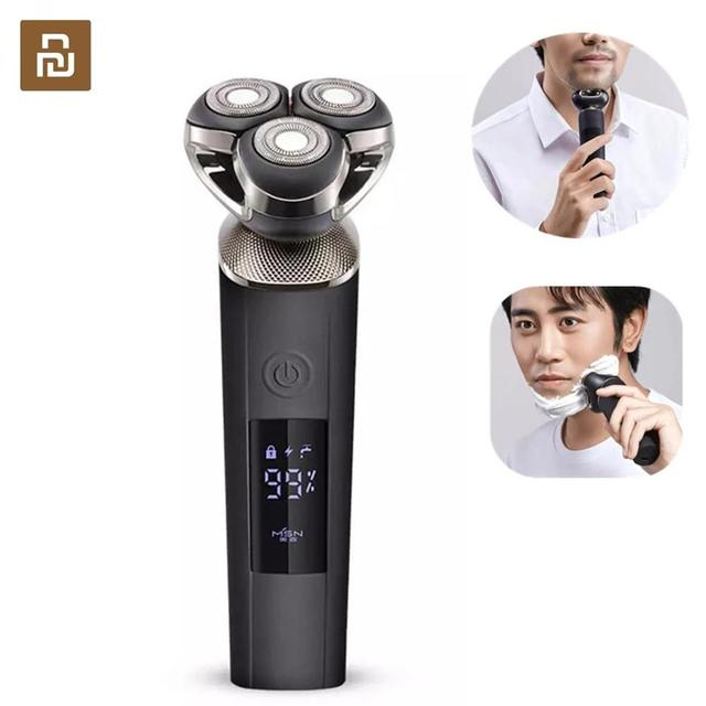 Youpin MSN Smart Electric Shaver Large LCD Screen Cordless Type C Rechargeable Waterproof Dry Wet 9100rpm Low Noise Razor