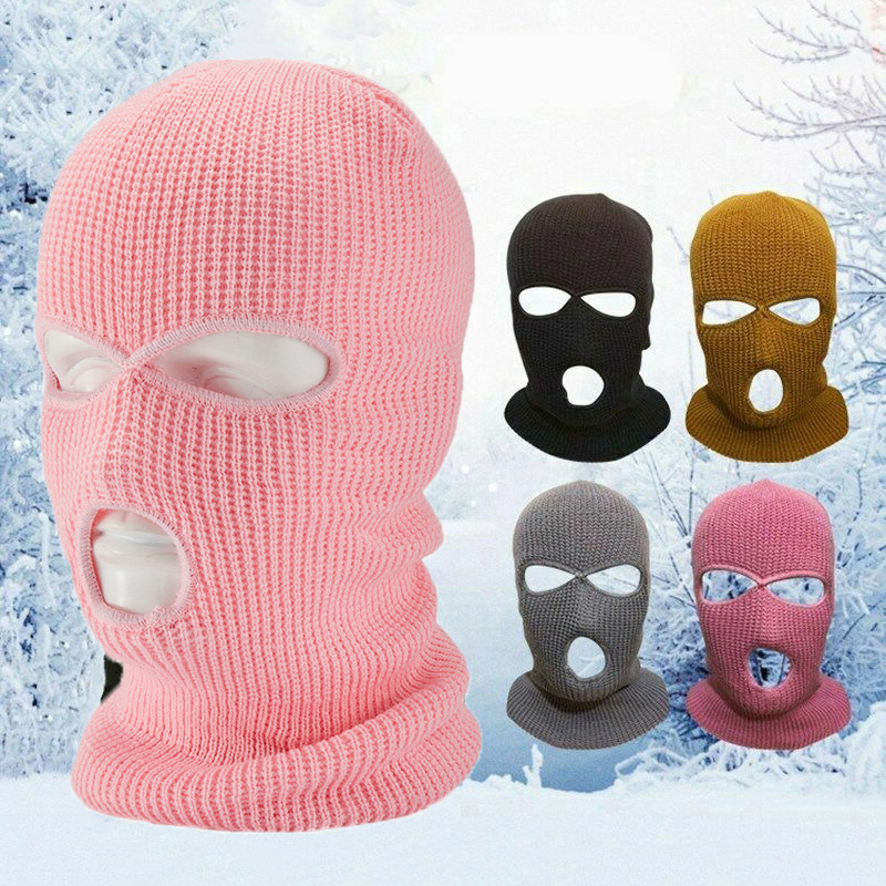 2 Hole/3 Hole Pink Mask Men Women Outdoor Travel Motorcycle Riding Knit Ski Mask Balaclava Anti Wind Full Face Head Mask