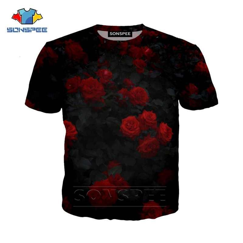 Flor Rosa street colthing nuevo verano 3d estampado hombres/mujeres moda casual Harajuku camiseta divertida camiseta de hip-hop camisetas de cuello redondo