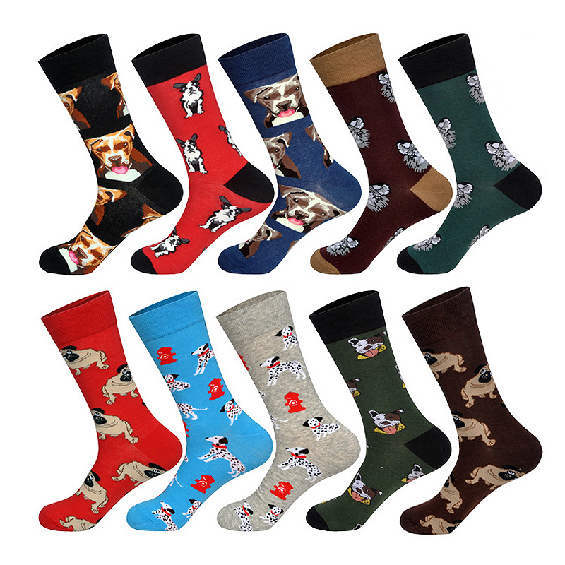 New Men Women Cotton Socks Casual Colorful Socks Happy Funny Printed Stockings Autumn Spotted Dog Color Matching