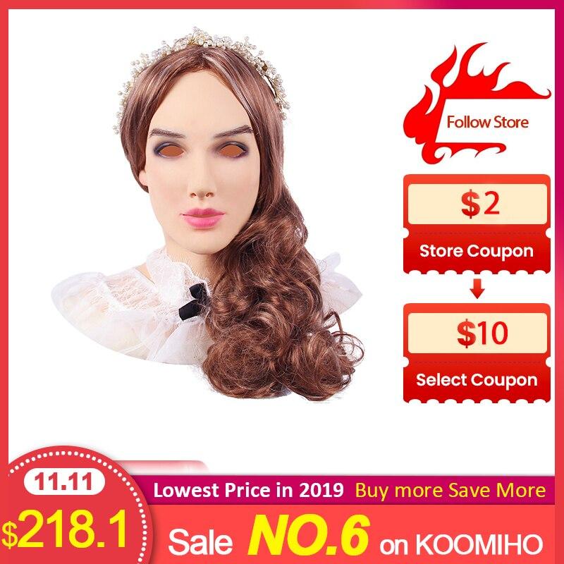 KOOMIHO Soft Silicone Realistic Female Head Crossdresser Mask Handmade Makeup Transgender Halloween Cosplay 3G