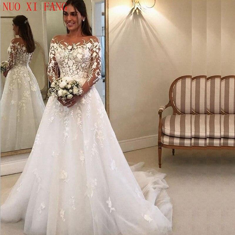 Scoop Neck Beautiful Lace Appliques Wedding Dress 2020 Long Sleeve Robe De Mariee Bride Gowns Elegant A Line Abito Da Sposa