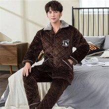 Мужская Фланелевая теплая одежда для сна, теплый зимний толстый коралловый флисовый пижамный комплект для мужчин, топы для сна и штаны, домашняя одежда