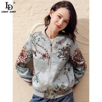 LD LINDA DELLA Apring moda chaquetas de diseñador de mujer de manga larga precioso cristal rebordear Jacquard Vintage chaquetas de abrigo