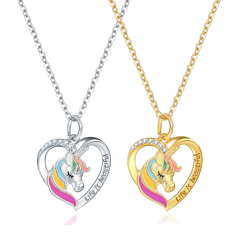 Модное металлическое ожерелье с подвеской в виде единорога из фиолетового, красочного и белого кристалла, 2020, ювелирные изделия для женщин ...