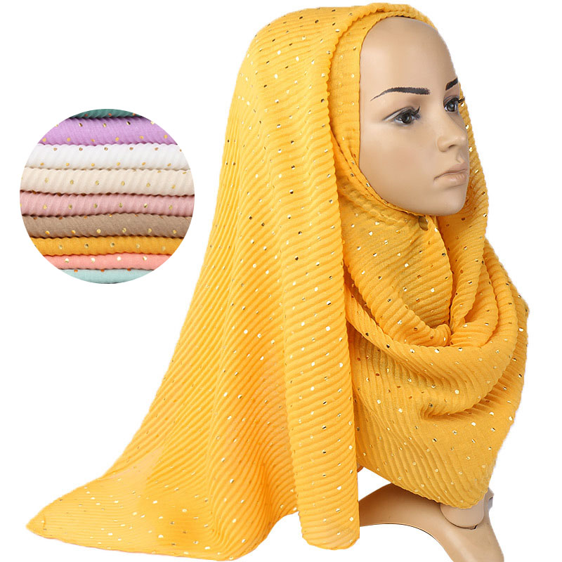 200*90cm Cotton Crinkle Hijab Scarf Solid Sequin Shawls And Wraps Turban For Woman Hijab Femme Musulman Muslim Head Scarves