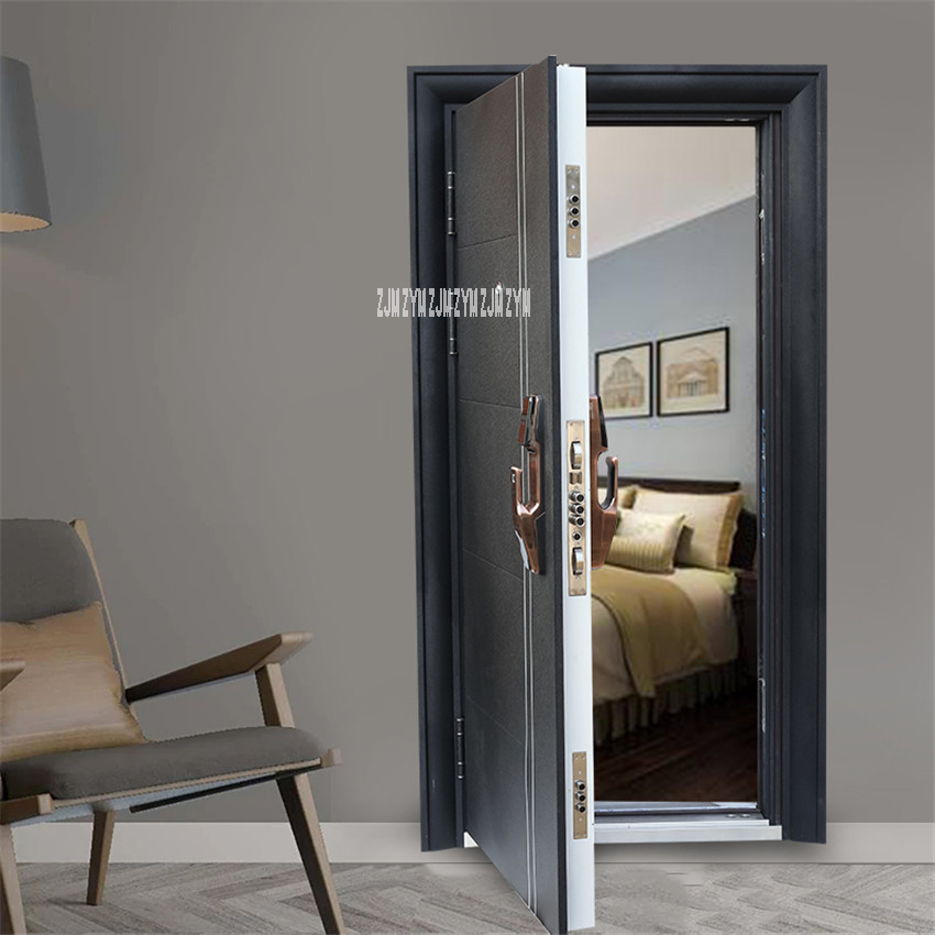 KR-9005 Security Door With Intelligent Lock/Mechanical Lock Household Simple Gate Entrance Door Burglarproof Door Anti-Theft