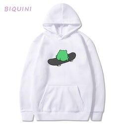Skateboard Frog Hoodie Spring Winter Anime Hoodies Goth Casual Streetwear Cartoon Print Sweat Capuche Femme Toppies Oversized