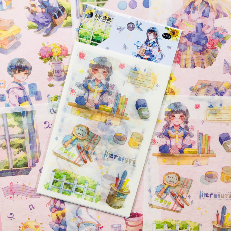 6 Sheets Kawaii School Boy And Girls A Letter To The Wind Washi Paper Sticker Adhesive Stick Label