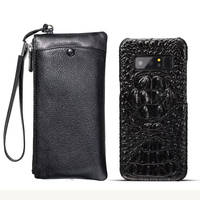 CKHB Real Leather Wallet + Back Cover For samsung galaxy note 8 Luxury Genuine Leather Back Cover For galaxy note9 case bag