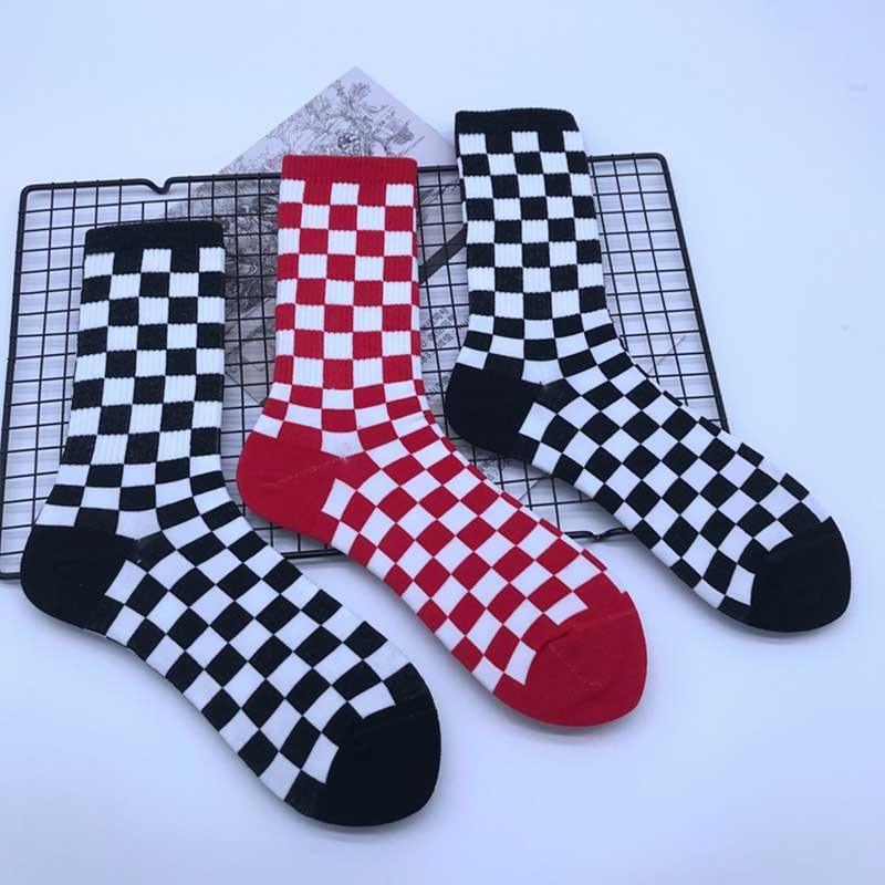 Autumn Winter Fashion Middle Tube Men Cotton Short Sock Women Lattice Short Socks Absorb Sweat Breathable Hosiery