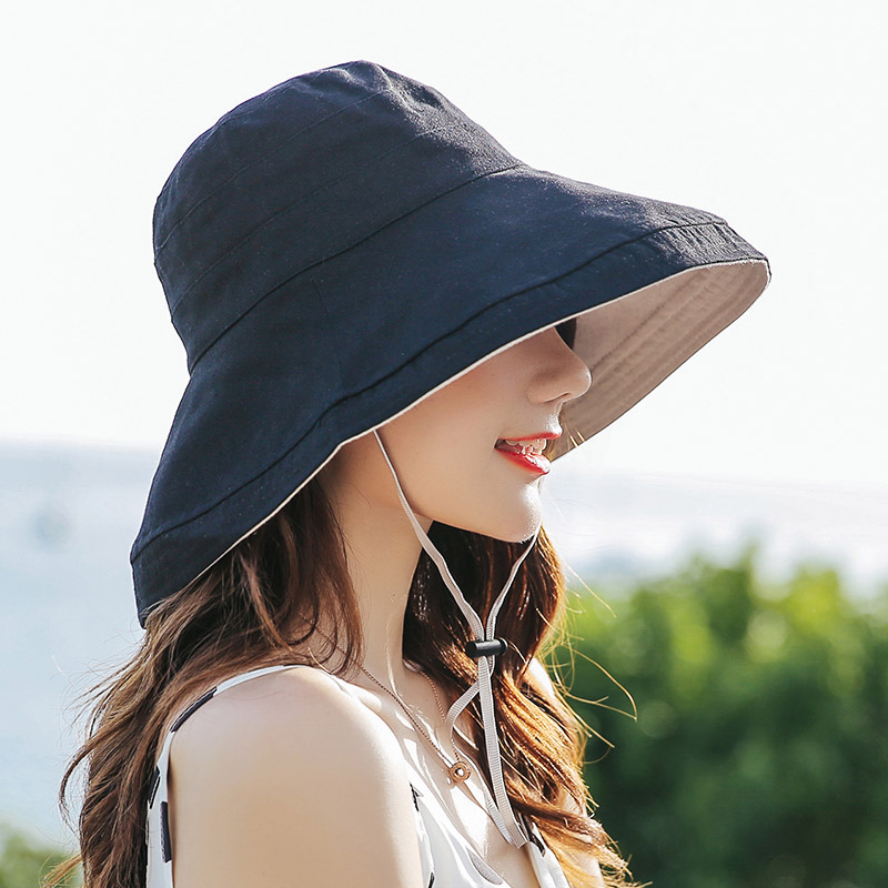 Foldable Wide Brim Bucket Hat For Women Summer Outdoor Dome Hat Navy Sunscreen Cotton Fishermen Hats Caps Korean Panama Female Herbal Products cb5feb1b7314637725a2e7: Color 1|Color 2|Color 3|Color 4