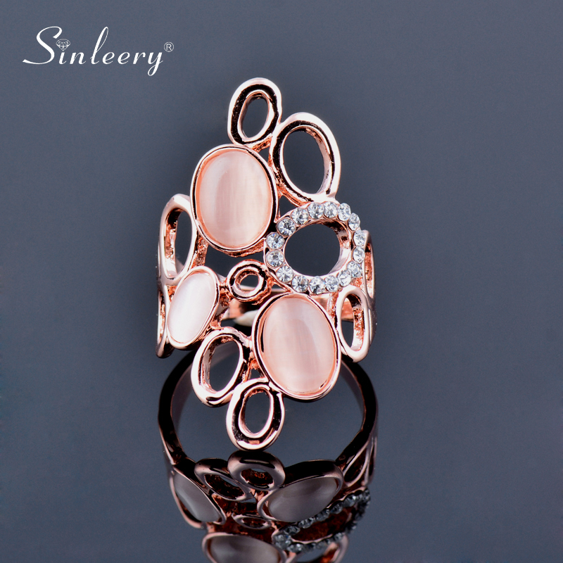 SINLEERY Fashion Big Round Opal Shuttle Hollow Rings For Women Wedding Party Jewelry Size 6 7 8 9 10 Rose Gold Color Jz483 SSA