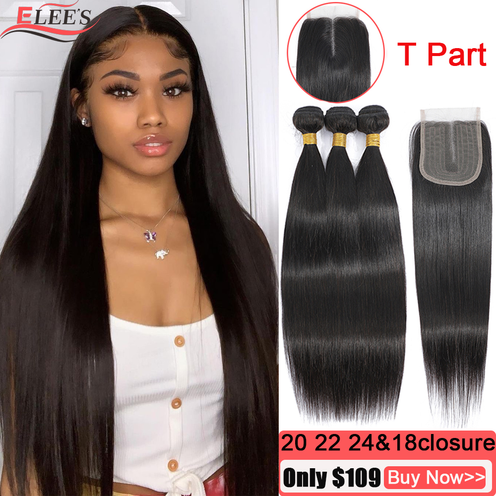Brazilian Straight Hair Bundles With Closure Remy Bone Straight Human Hair Weave Bundles With T Part Lace Closure With Baby Hair