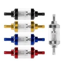 CNC 8 мм газовый топливный фильтр скутер полированный и хромированный Универсальный алюминиевый прозрачный вид для грязи двигателя/ямы