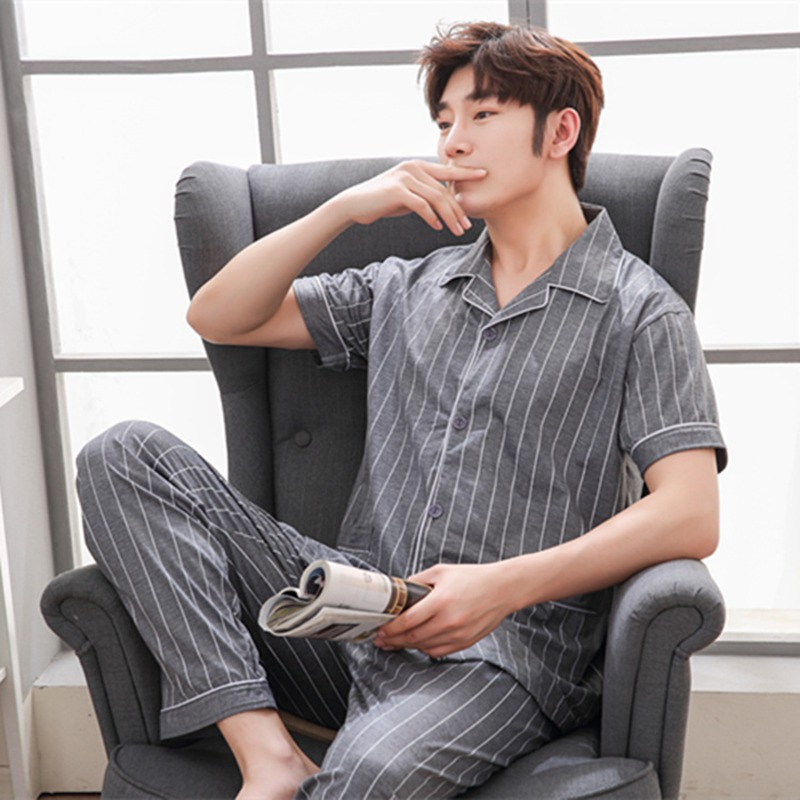 2020 Summer Casual Striped Cotton Pajama Sets For Men Short Sleeve Long Pants Sleepwear Pyjama Male Homewear Lounge Wear Clothes