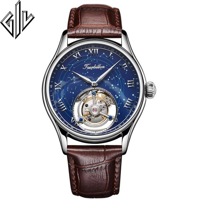 Tourbillon GIV 100% Tourbillon Watch Men Luxury Brand Skeleton Hand Wind Mechanical Watch Star Clock Relogio Masculino New