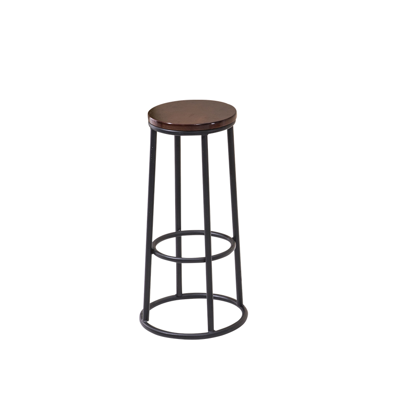Simple Bar Chair Iron Bar Chair Bar Stool High Footstool Dining Chair Leisure Stool Northern Europe Bar Chair Round Solid Wood S
