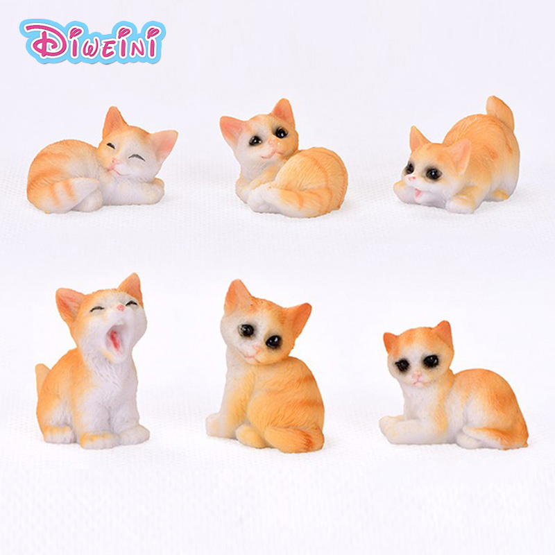 6pc Artificial Mini Yellow Kitten Cat Mode Miniature Figurine Pretend Play Kitchen Toy Doll House DIY Accessories Gift Baby Gift