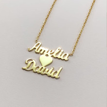 Personalized Double Names Necklace With a heart Gold Heart With Name Pendants Couple Necklace Handwriting Nameplate Name Chokers sideway customised double nameplate necklace personalized two name pendants jewelry family name bar necklace christmas gift