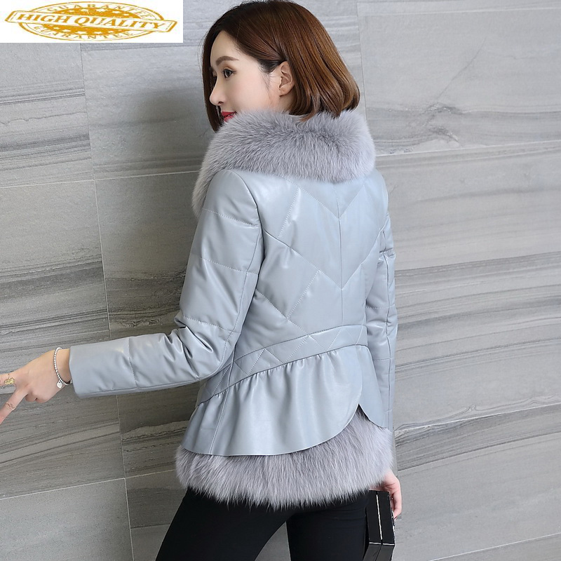Genuine Leather Jacket Women Winter Sheepskin Coat Women's Down Jackets Fox Fur Collar Short Female Jacket Macaw KJ703